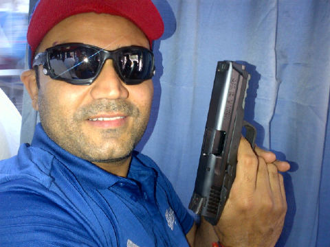Virender Sehwag spotted with gun !