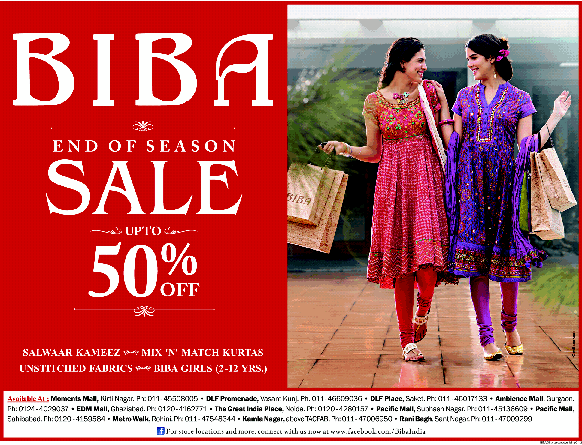 Sale upto 50% by BIBA on Ladies wear