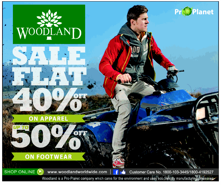 Woodland 40% and 50 % off on Apparel and Footwear