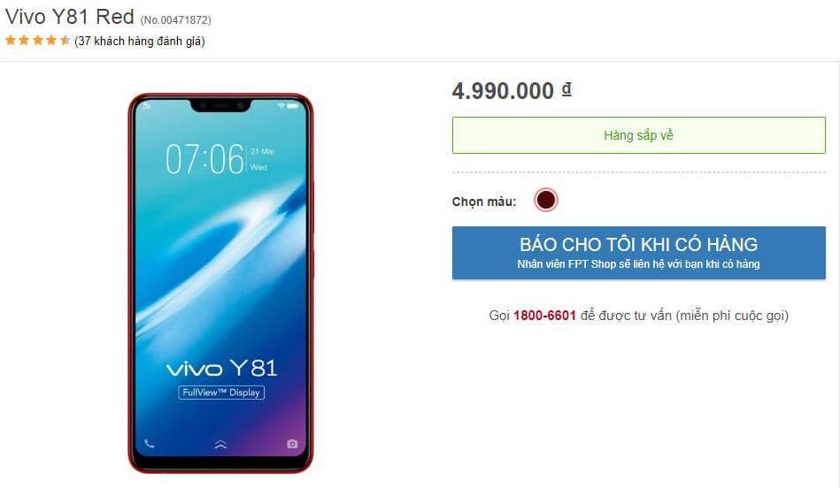 Vivo Y81 vietnam