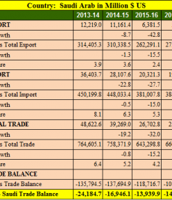 India Saudi Arab trade balance analysis for 5 years : 2013- 2018