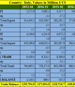 India Italy trade balance analysis for 5 years : 2013- 2018