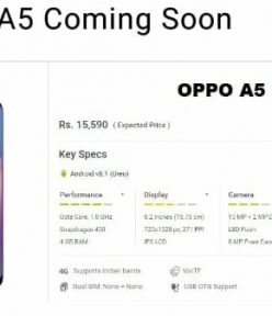 Oppo A5 launching in India for Rs. 15,590