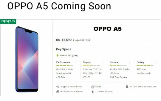 Oppo A5 India launch