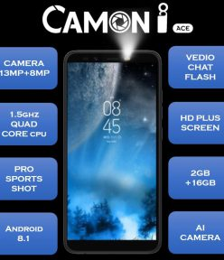 Tecno camon iAce 13M/8MP rear selfie camera budget phone